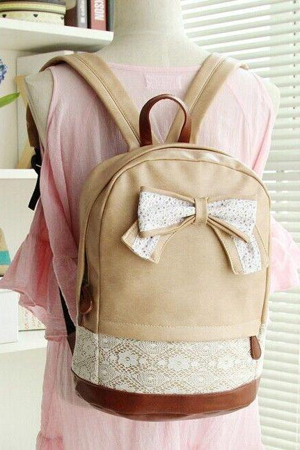 Lather Backpack Hipster Backpack Girls Backpack Canvas Backpack Beige