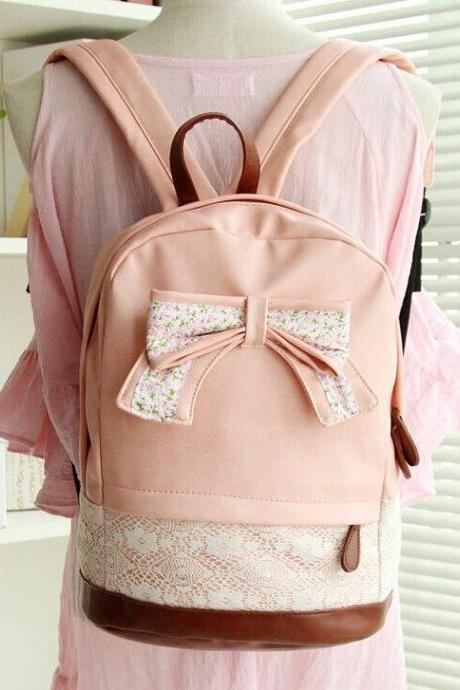 PU Lather Backpack Hipster Backpack Girls Backpack Canvas Backpack Pink