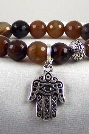 Autumn Agate Enegry Bracelet with Spiritual charm and Silver Yogi beads.