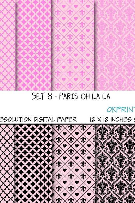 Set 008 - Paris Oh la la Digital paper /scrapbook paper / pdf /zip file