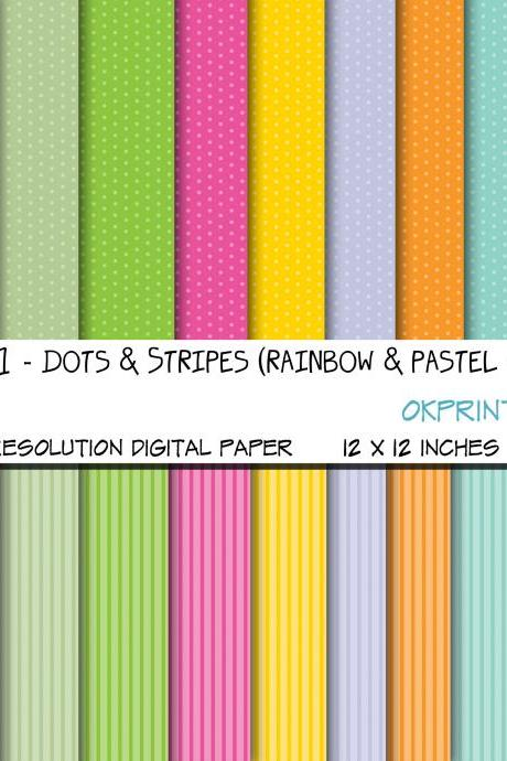 Set 011 - Dots and stripes in rainbow and pastel colros, Digital Background, Scrapbook Paper, Printable Paper, Web Design