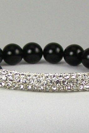 Grounding Black Onyx Energy Bracelet with Rhinestone Accent Bead, Great Gift Ideas, Free Shipping