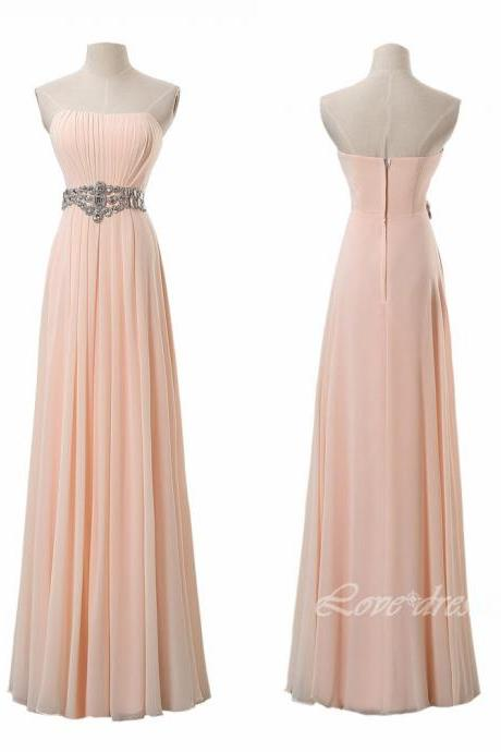 Champagne Long Prom Dresses Strapless Evening Party Dresses S207