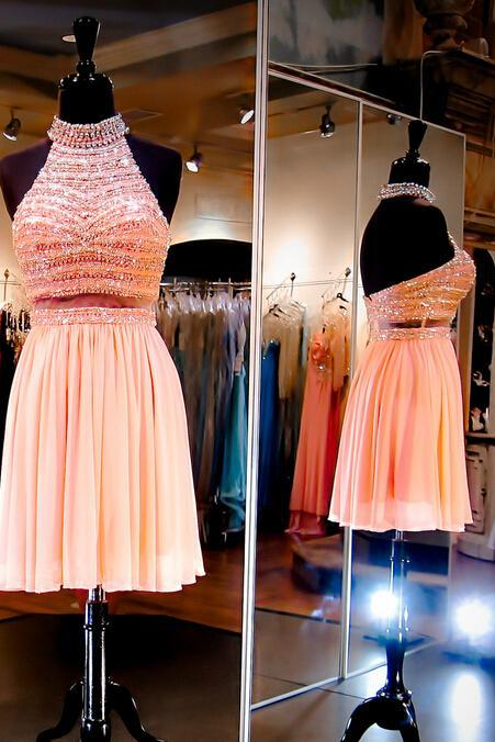 Hd08286 Charming Homecoming Dress,Chiffon Homecoming Dress,Beading Homecoming Dress,Halter Homecoming Dress