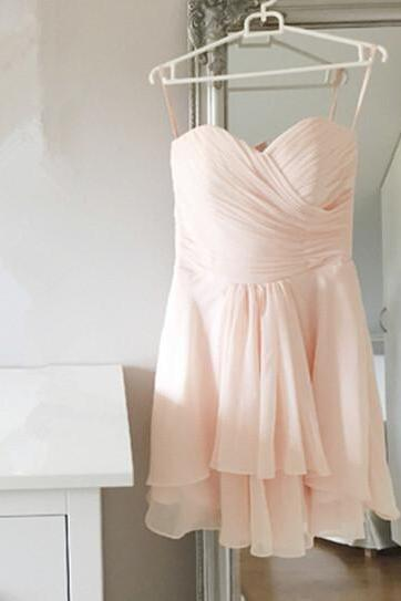 Graceful Short Chiffon Light Pink Simple Prom Dresses Bridesmaid Graduation