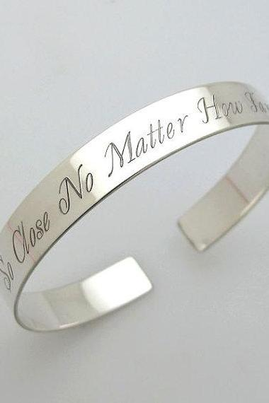Inspirational Saying Bracelet - Custom Quote Bracelet - Silver Bangle Bracelet - Stacking Bracelet - Metallic Song Jewelry