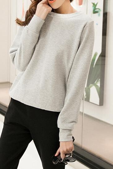 Crew Neck Long Cuffed Sleeves Pullover