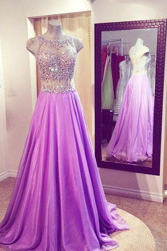 2015 A Line Round Neck Floor Length Purple Formal Prom Dresses,Chiffon Prom Dress With Beading,Formal Prom dress with Appliques,Sexy See Through Party Dress