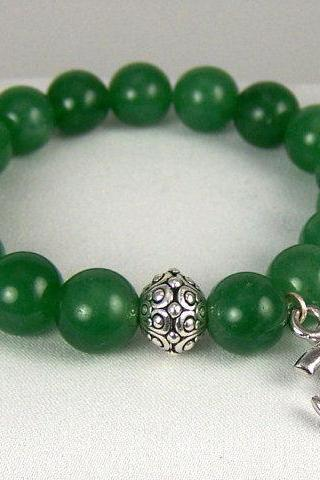 Stabalizing Aventurine Energy Bracelet with Ohm Charm and Yogi accent beads, Meditation Bracelet, Free Shipping, Great Gift Ideas