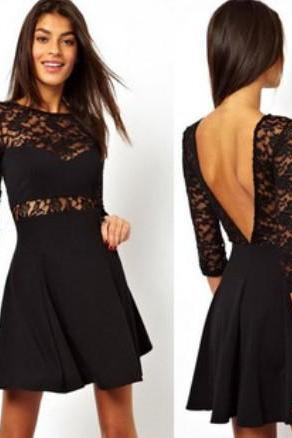LONG-SLEEVED SEXY BACKLESS DRESS GH804A