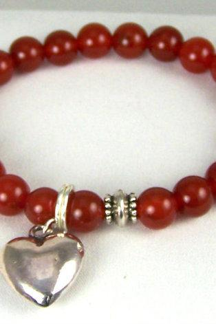 Unconditional Love Carnelian Meditation Bracelet with Heart Charm and Yogi accent bead, Energy Jewelry, Great Gift Ideas, Free Shipping