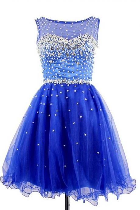 Custom Made Royal Blue Homecoming Dress,Organza Homecoming Dress,Beading Homecoming Dress,Noble Homecoming Dress, Short Prom Dress