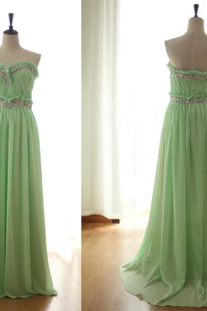 long bridesmaid dress, mint bridesmaid dress, cheap bridesmaid dress, chiffon bridesmaid dress, bridesmaid prom dress, 14160