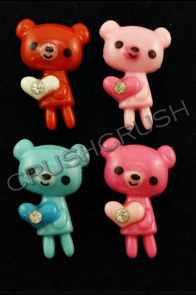15pcs Killer Gloomy Teddy Bear Resin Flat Back Cabochons F606
