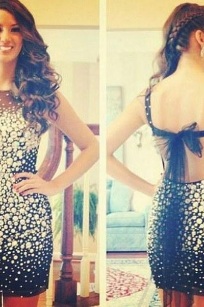 Luxury Sexy Short Prom Dress, Black Backless Evening Dress, Cheap Evening Dresses, Sparkly Evening Gown, Rhinestone Party Dress, Cocktail Dresses