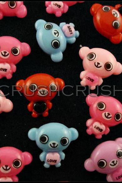 50pcs Teddy Bear Resin Flat Back Cabochons Cartoon F654