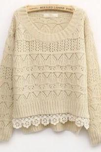 Hot sale Beige Sweet Vintage Hollow Short Sweater for women