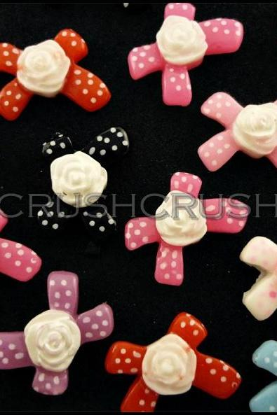 50pcs Resin Ribbon Bow With Rose Flatback Cabochons F597