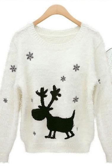 Cute Christmas Sweaters Snow Elk Jumper Sweater Thicken for women
