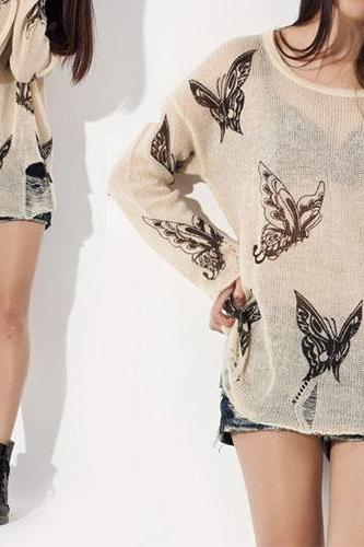 Hot sale Punk Style Loose Fitting Frayed Butterfly Print Shirt - Apricot for women