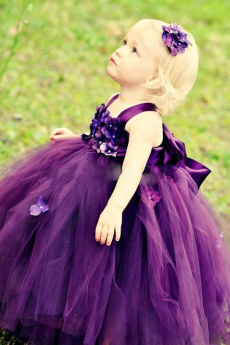 Purple Flower Girls Dresses, Ball Gown Little Flower Girls Dress, Long Flower Girls Wedding Party Dresses, Custom Make Little Girls Communion Dresses, Tulle Little Girls Party Dress, Puffy Girls Pageant Dress, Cheap Little Girls Dress