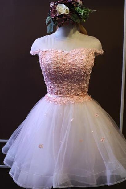 Cute Short Lace-Up Pink and White Tulle Ball Gown Prom Dresses, Cute Homecoming Dresses 2015, Mini Prom Dresses in Stock
