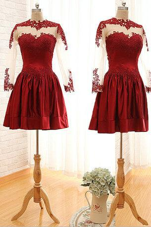 Custom Made Red Long Sleeves Appliques Graduation Dress, Red Long Sleeves Homecoming Dress,Charming Burgundy Sweetheart Knee Length Prom Dress With Embroidery And Lace