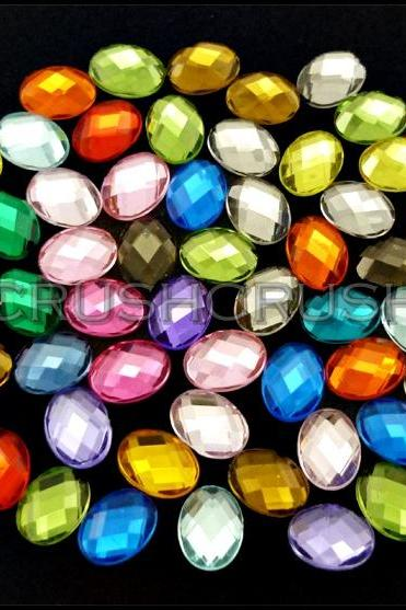 50pcs Assorted Color Faceted Oval Gems Cabochons Setting Flat back F589