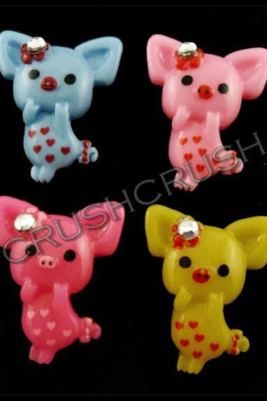 15pcs Pig and Heart Cartoon Flat Back Cabochons F585