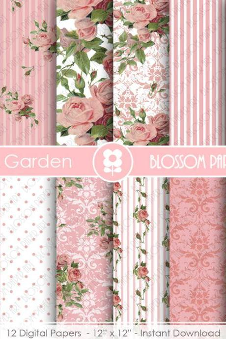 Pink Roses Digital Paper, Shabby Chic Pink Scrapbook Digital Paper Pack, Wedding Roses, Pink, Green - 1870