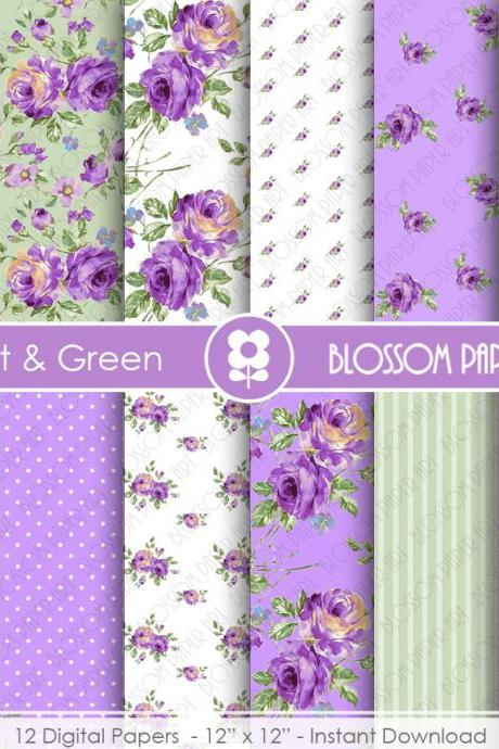 Violet Floral Papers, Rose Digital Paper Pack, Violet Green Digital Scrapbooking, Rose Papers - 1901