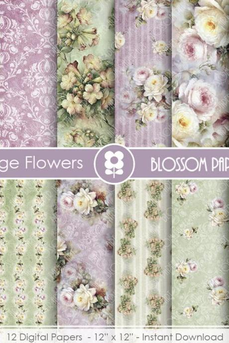 Floral Digital Papers, Roses Scrapbook Digital Paper Pack, Purple, Green, VIntage Roses - Collage Sheet - 1723