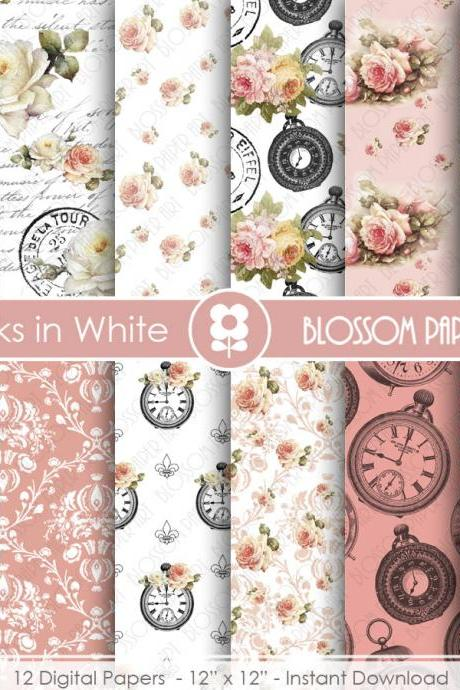 Shabby Chic Scrapbook Paper, Rose Vintage Digital Paper Pack, Wedding, Scrapbooking, Roses - 1812