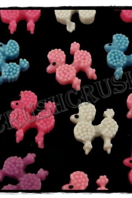 50pcs Resin Poodle Dog Flat Back Cabochons F570