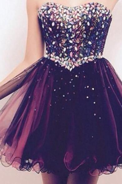 Custom Made Sweetheart Strapless Mini Homecoming Dress, Short Prom Dress, Short Cocktail Dress,Homecoming Dress,Dresses For Prom, Party Dresses, Colorful Beading and Tulle Homecoming Dresses,A-Line Graduation Dresses