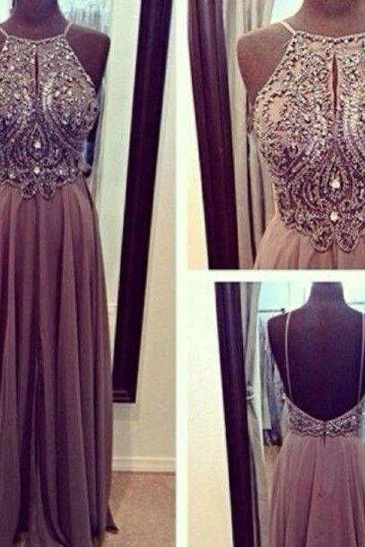 Halter Backless Grey Evening Dress, Long Evening Dress, Sexy Formal Dresses, Chiffon Prom Dress, Prom Gowns 2016, Gray Evening Dress, Sparkly Evening Dress