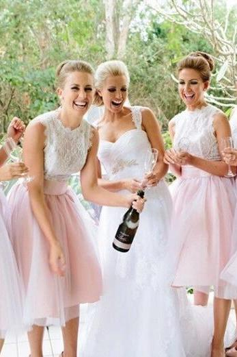 Tulle Short Pink Bridesmaid Dress, Wedding Party Dresses, Cute Bridesmaid Dresses, Bridesmaid Dresses 2016, Lace Bridesmaid Dress, Dresses For Weddings