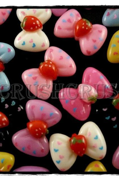 50pcs Resin Ribbon Bow with Strawberry Flatback Cabochons F566
