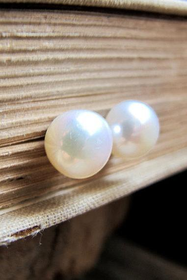 AAA Big FreshWater Pearl Earrings - Pearls Studs for Her - Large Pearl Post Earrings