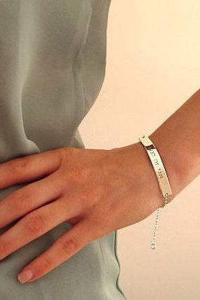 Nameplate Bracelet Bracelet - Sterling Silver Engraved Bracelet - Personalized Jewelry
