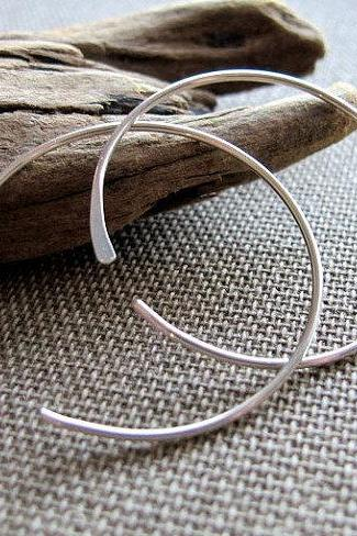 Modern Hoop Earrings - Open Circle Hoops - Sterling Silver Earrings - Everyday Earrings