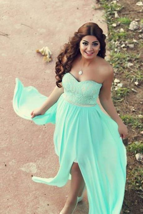 Said Mhamad Prom Dresses, Cheap Prom Dress, Mint Chiffon Evening Dress, Lace Evening Gowns, Sweetheart Party Dress, Side Slit Special Occasion Dresses