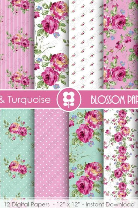 Pink Floral Papers, Light Blue Floral Paper Pack, Digital Scrapbooking, Rose Papers - 1900
