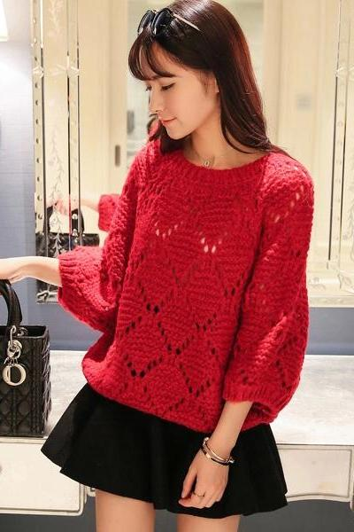 2015 Women Loose Batwing Sleeve Sweater(4 colors)
