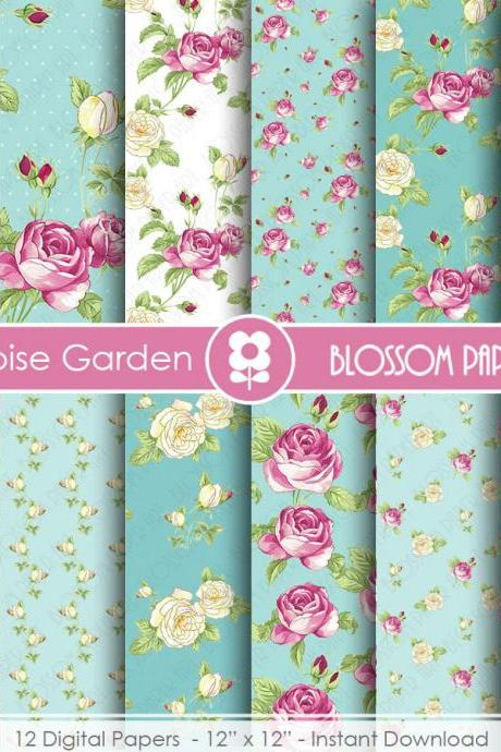 Scrapbooking Digital Paper, Floral Digital Paper Pack, Pink and Turquoise Scrapbooking, Roses - 1844