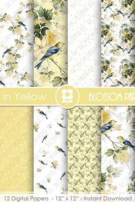 Digital Paper, Yellow Digital Paper Scrapbook Paper Pack, Scrapbooking, Birds, Yellow Scrapbook Papers - 1939