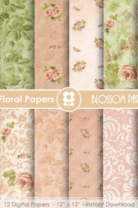 Floral Digital Paper, Peach Digital Paper Pack, Wedding, Scrapbooking, Roses, Pink, Green - 1645