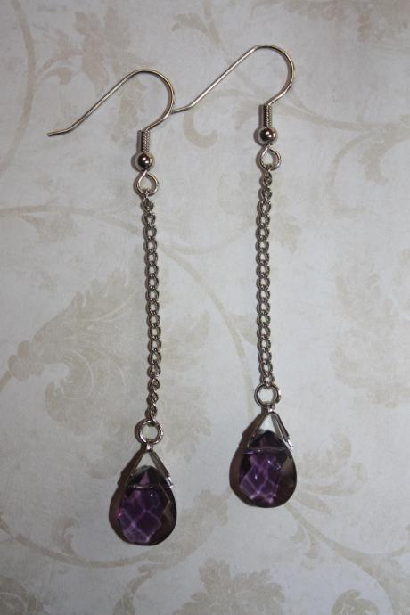 Amethyst Colored Tear Drop Dangle Earring