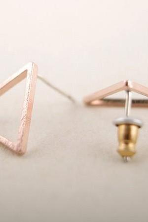 Gold Silver Pink Gold hollow Triangle studs Earrings for ladies in color gold/silver/rose gold