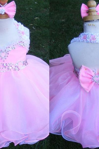 Halter Little Girl's Pageant Dresses, Pink Girl's Pageant Dress, Crystal Kids Pageant Dresses, Bow Little Girl's Cupcake Dress, Organza Children Pageant Dress